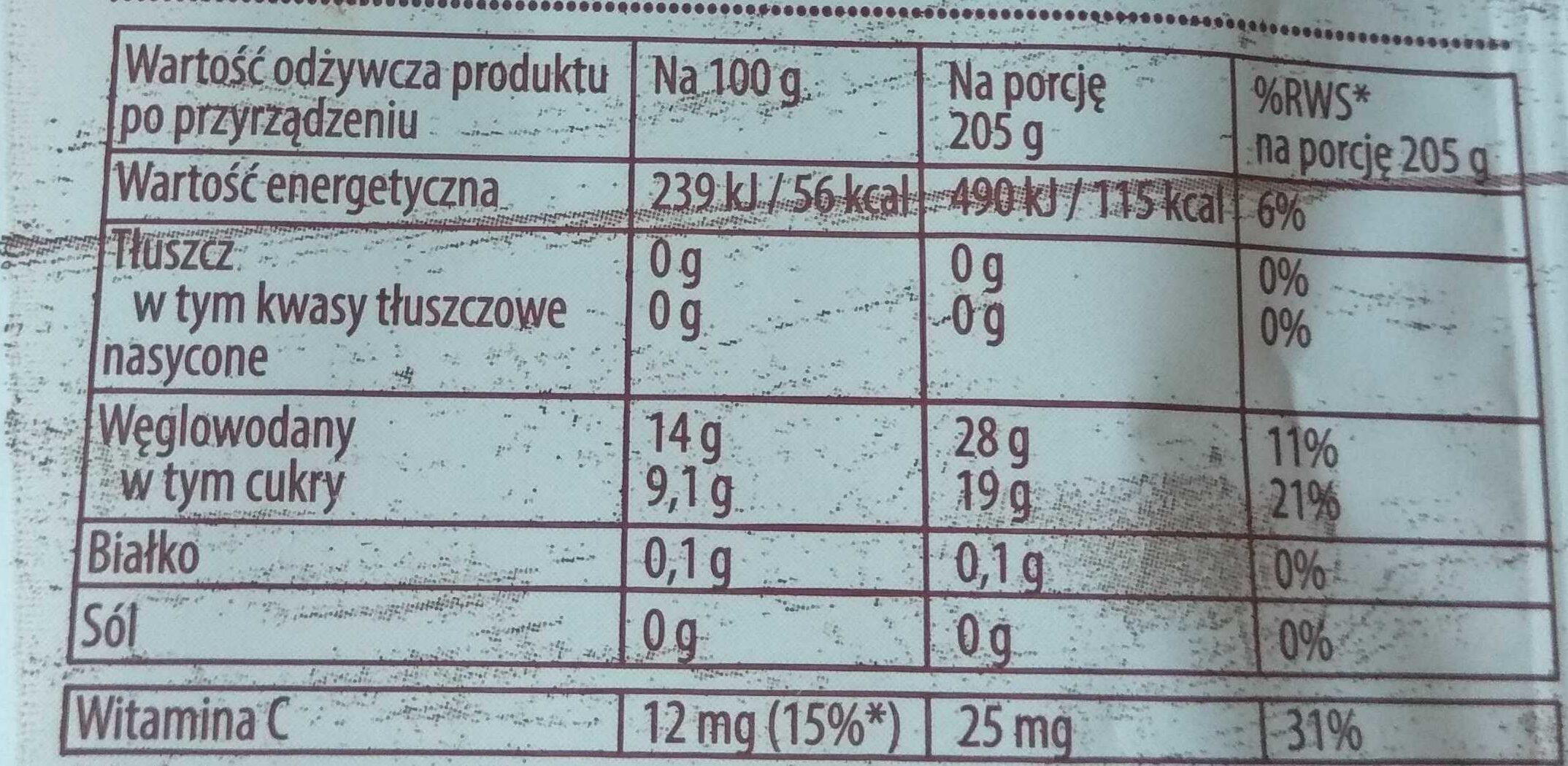 Kisiel Owocowy Kubek, owoce leśne - Voedingswaarden - pl