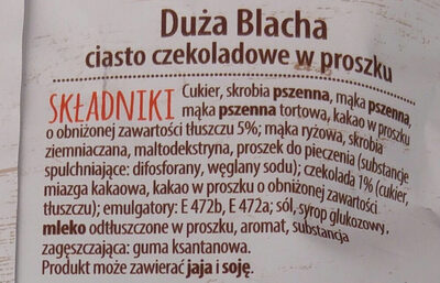 Ciasto czekoladowe w proszku - Składniki - pl