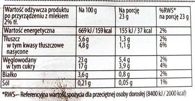 Krem karpatka bez gotowania w proszku - Nutrition facts