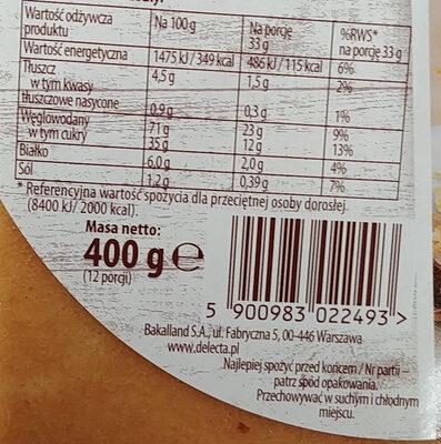 Spód tortowy jasny 3-warstwowy - Wartości odżywcze - pl