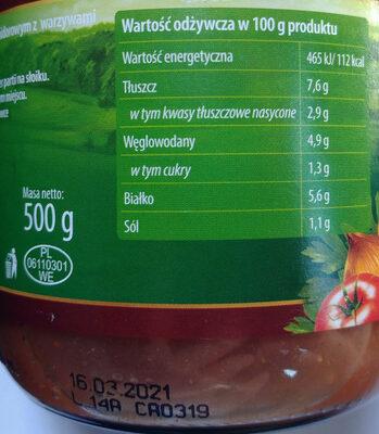 Gulasz wieprzowy w sosie pomidorowym z warzywami - Voedingswaarden
