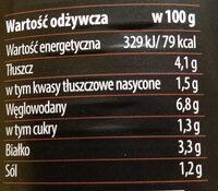 Mięso wołowe z makaronem i boczkiem wędzonym w sosie pomidorowym - Wartości odżywcze - pl