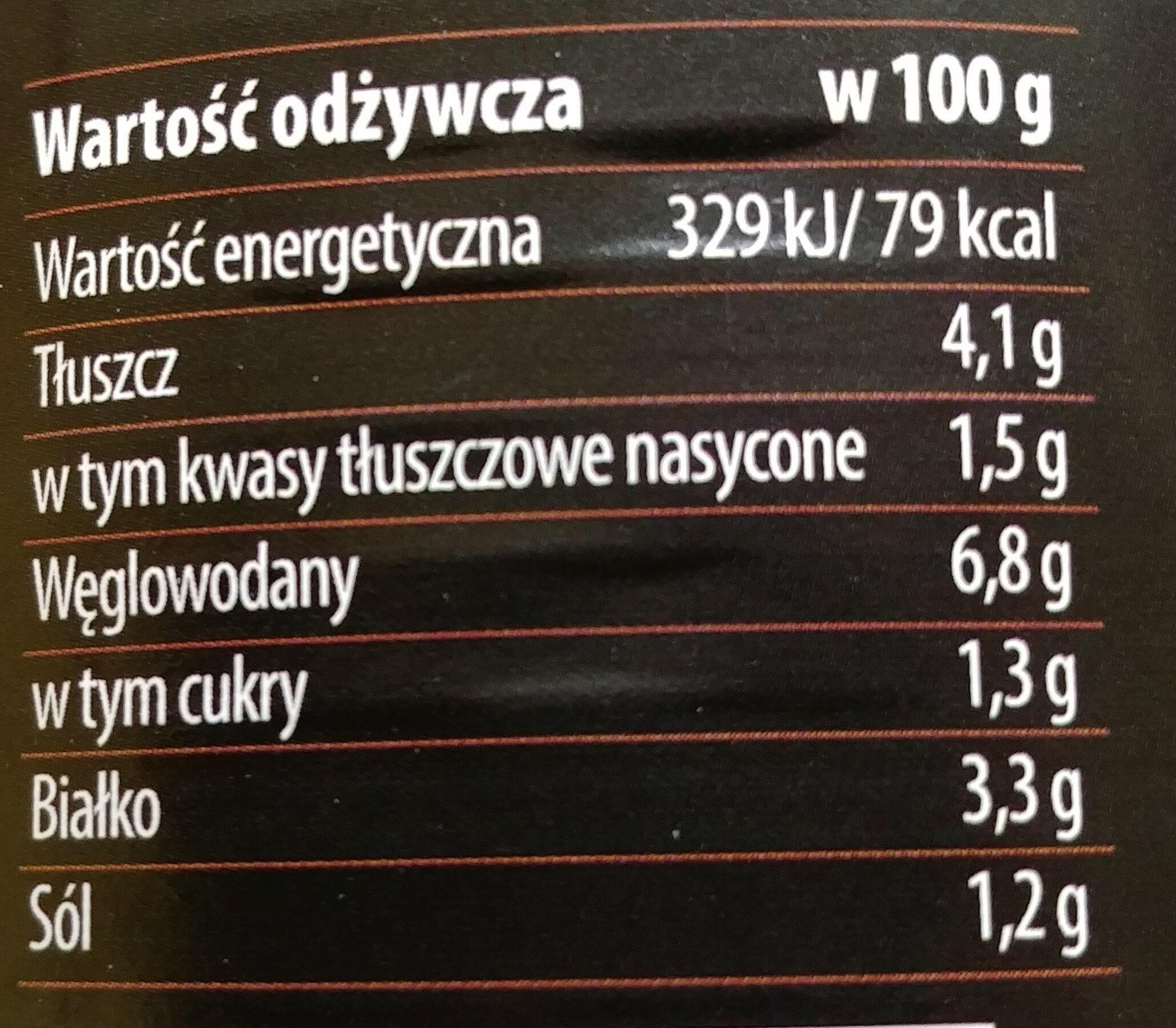Mięso wołowe z makaronem i boczkiem wędzonym w sosie pomidorowym - Nutrition facts - pl