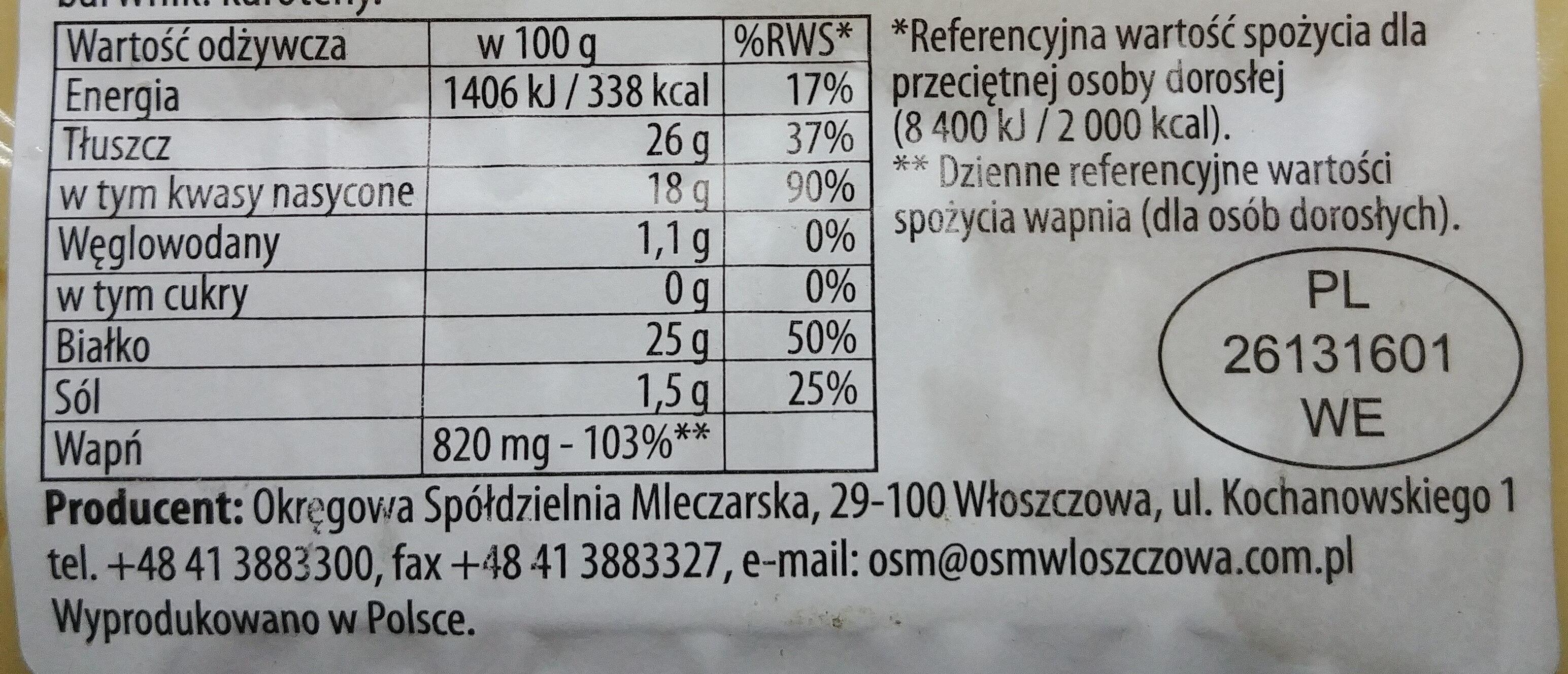 Ser Włoszczowski plastrowany typu Szwajcarskiego. Ser podpuszczkowy, dojrzewający - Voedingswaarden - pl
