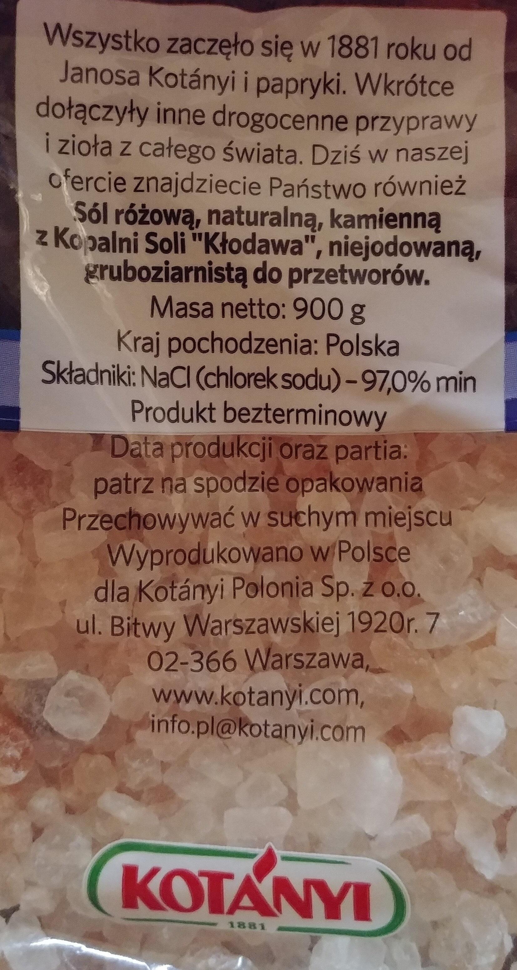 Sól różowa naturalna kamienna z kopalni Soli ';Kłodawa'; gruboziarnista. - Składniki