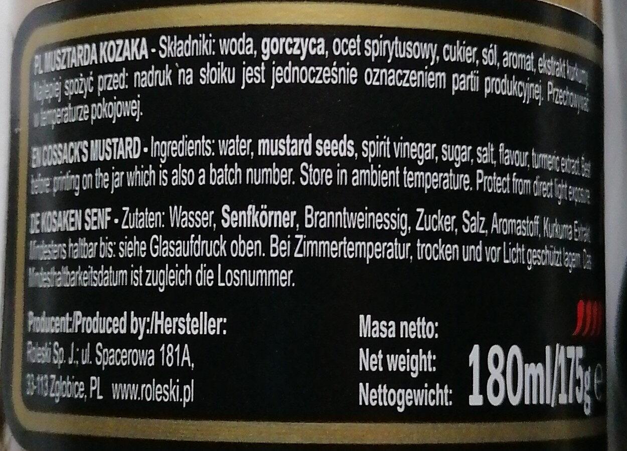 Musztarda delikatesowa kozaka - Składniki