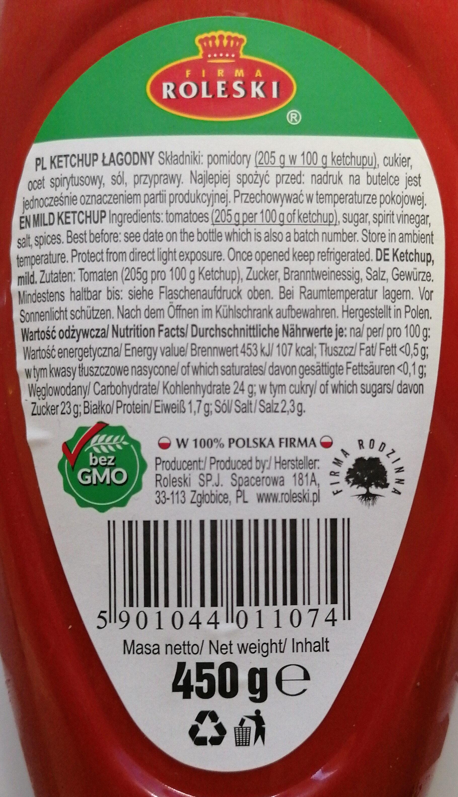 Ketchup łagodny markowy - Składniki