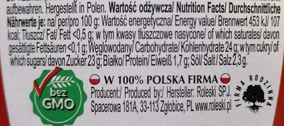 Ketchup łagodny - Informations nutritionnelles