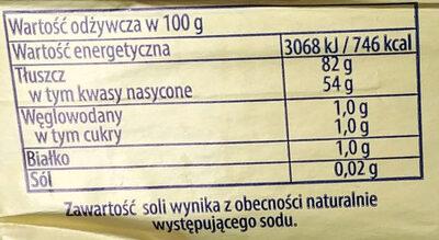 Masło ekstra z Kościana - Wartości odżywcze - pl