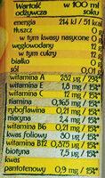 Sok wieloowocowy marchwiowy z dodatkiem witamin - Wartości odżywcze