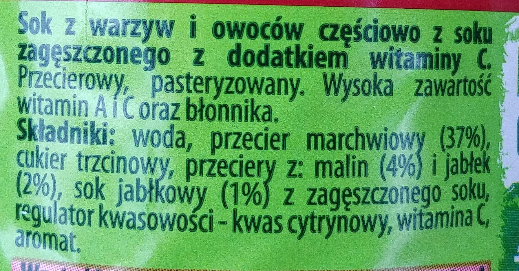 Kubus - Carrot-apple-raspberry Juice - Składniki - pl