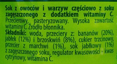 Sok z owoców i warzyw częściowo z soku zagęszczonego z dodatkiem witaminy C. - Składniki