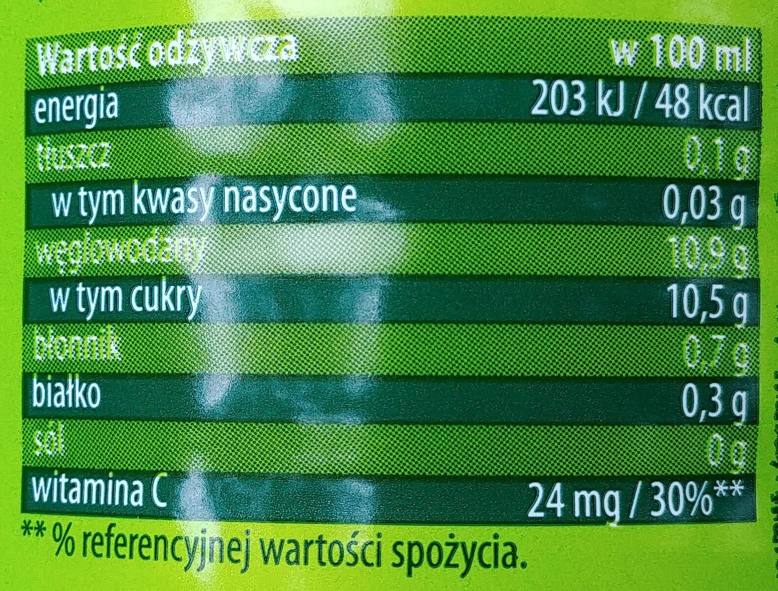 Sok z owoców i warzyw częściowo z soku zagęszczonego z dodatkiem witaminy C. - Wartości odżywcze