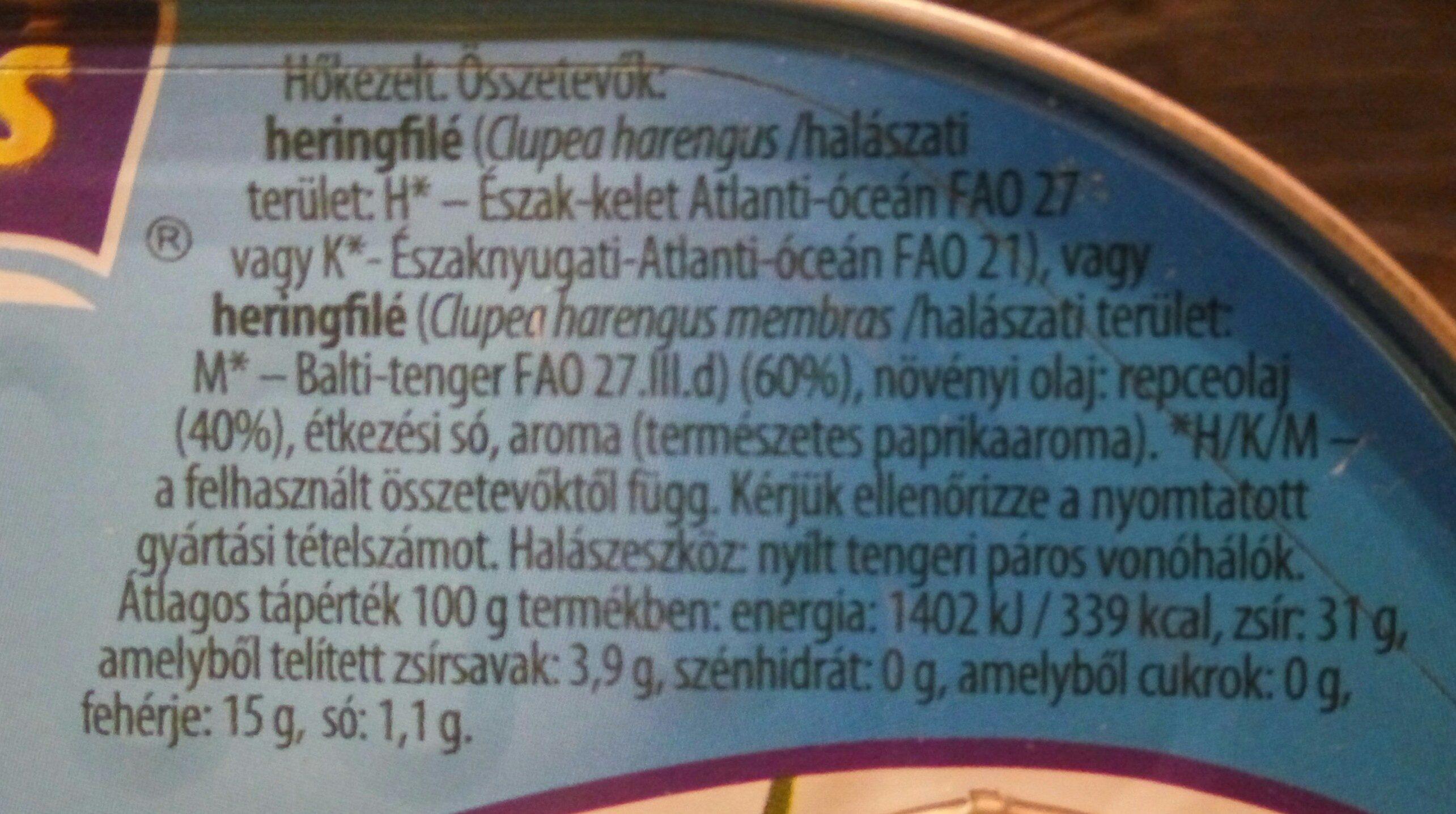 Heringfilé repceolajban - Ingrediënten - hu