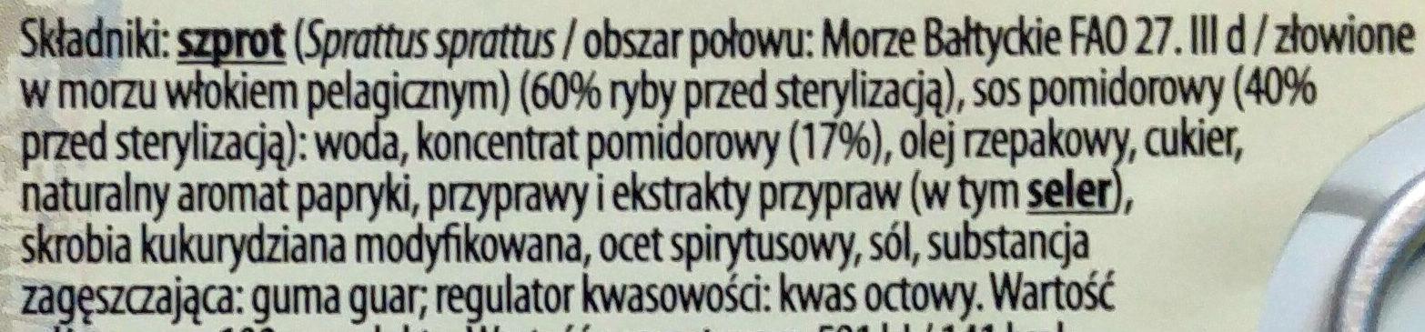 Szprot w sosie pomidorowym. - Ingrediënten - pl
