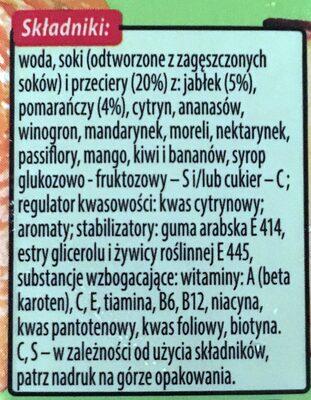 Napój wieloowocowy, częściowo z soków zagęszczonych, źródło 10 witamin - Składniki