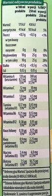 Napój wieloowocowy, częściowo z soków zagęszczonych, źródło 10 witamin - Wartości odżywcze