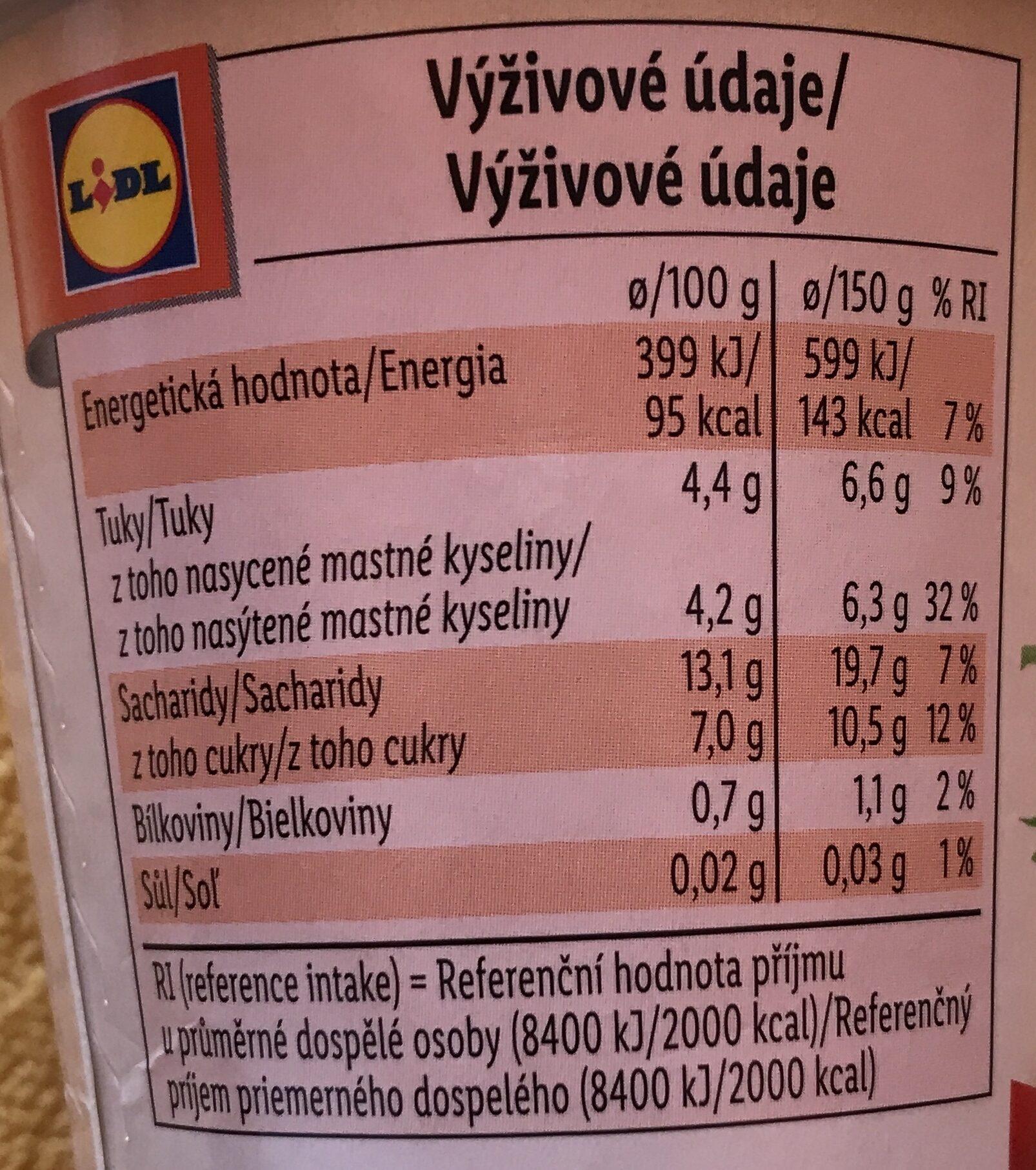 Kokos vegangurt - Jahoda - Informations nutritionnelles - cs