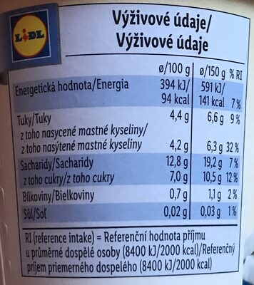 Kokos vegangurt - broskev marakuja - Informations nutritionnelles - cs