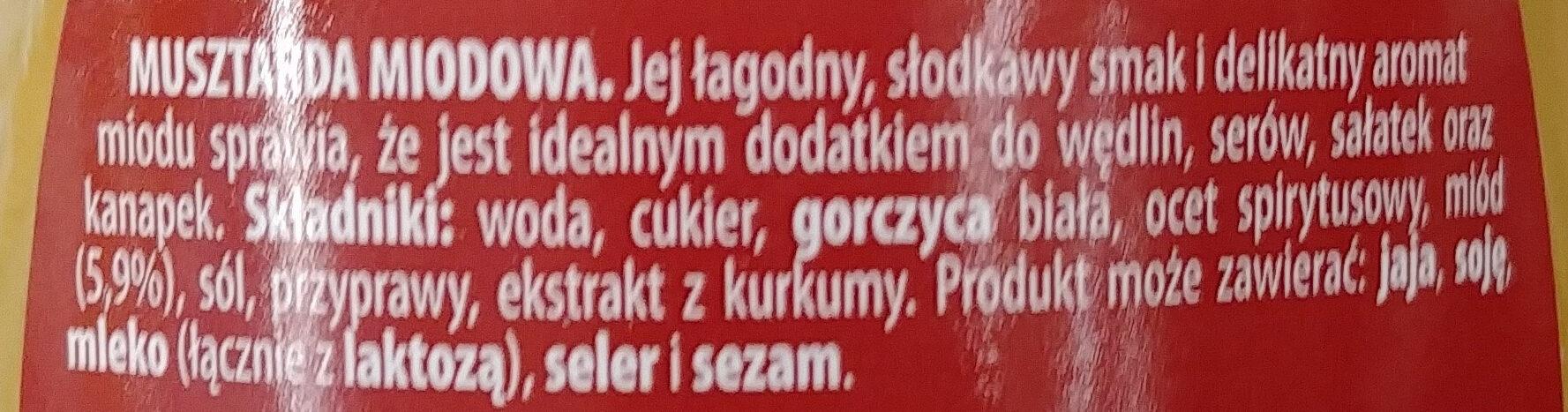 Musztarda miodowa - Składniki - pl