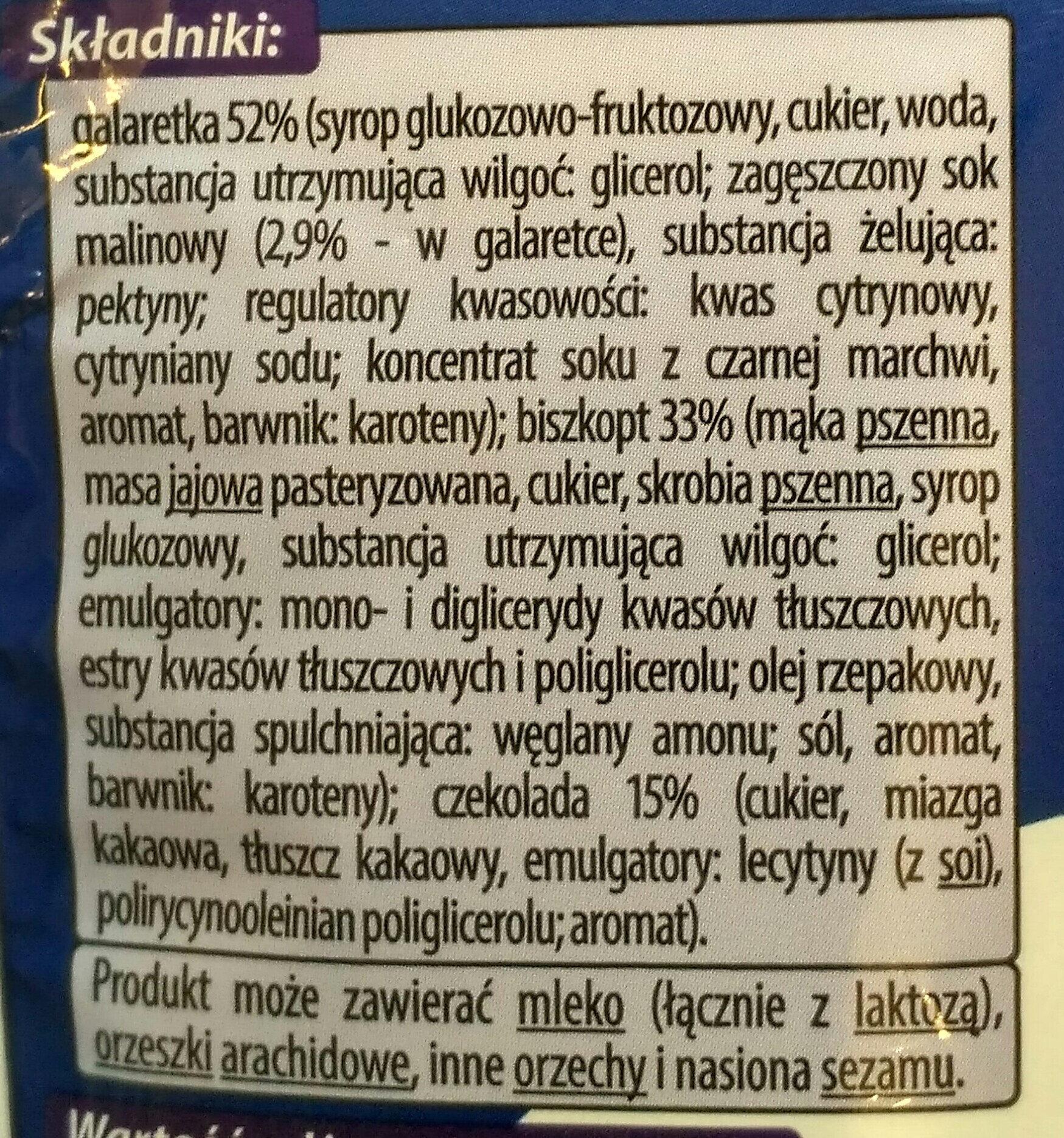 Biszkopty z galaretką malinową w czekoladzie - Ingredients