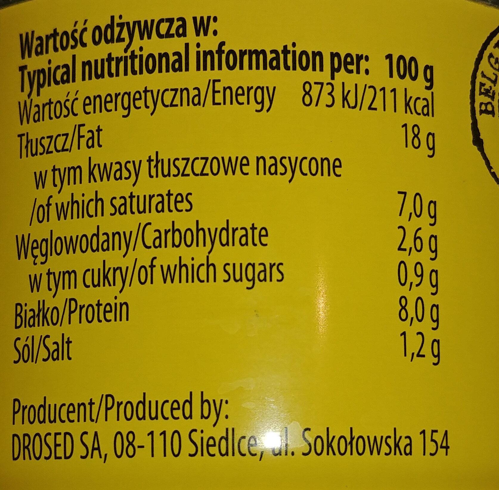 Pasztet Belgijski drobiowo-wieprzowy - Wartości odżywcze - pl