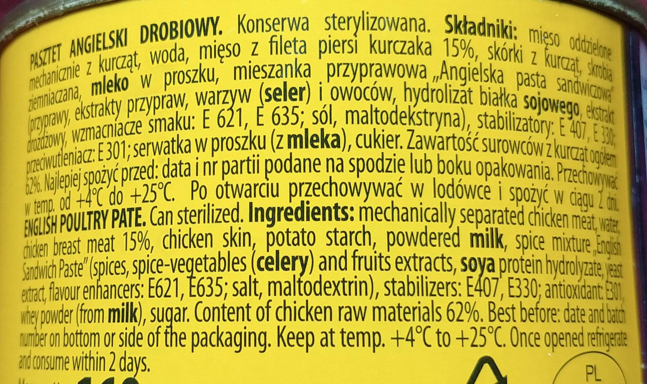 Pasztet angielski drobiowy - Ingredients - en