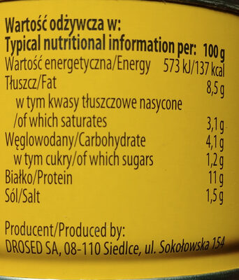 Pasztet angielski drobiowy - Nutrition facts