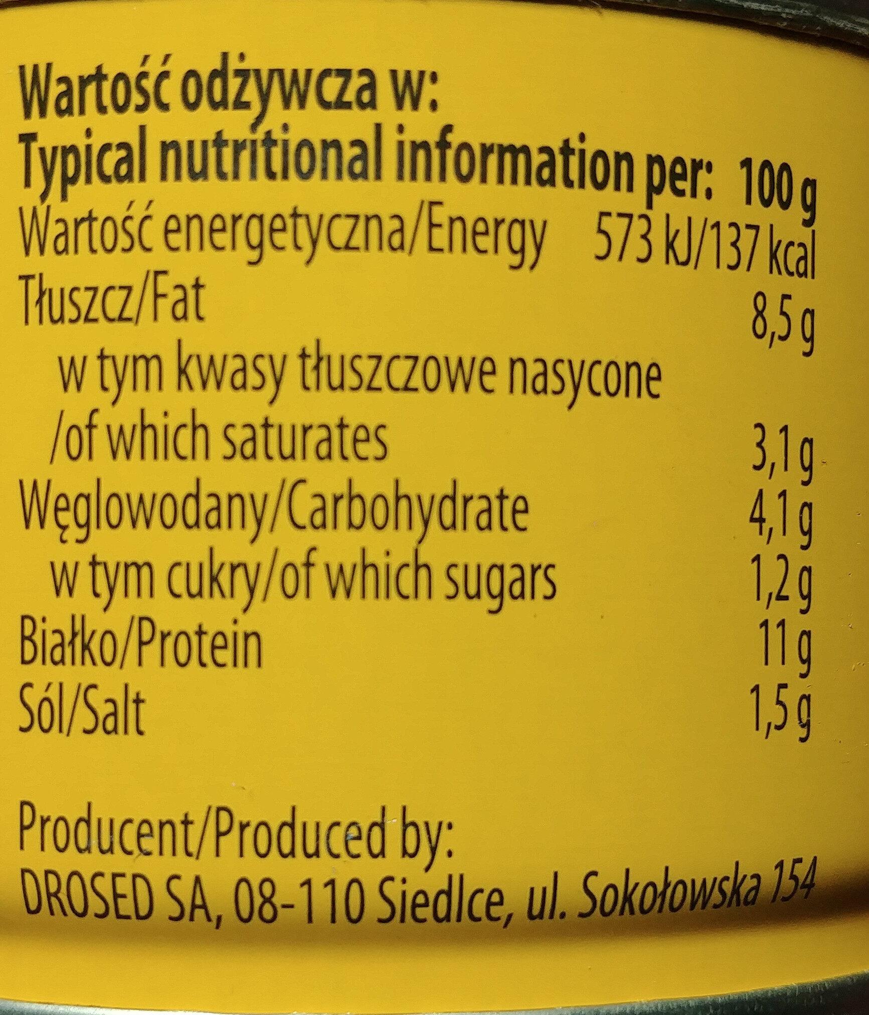 Pasztet angielski drobiowy - Nutrition facts - en