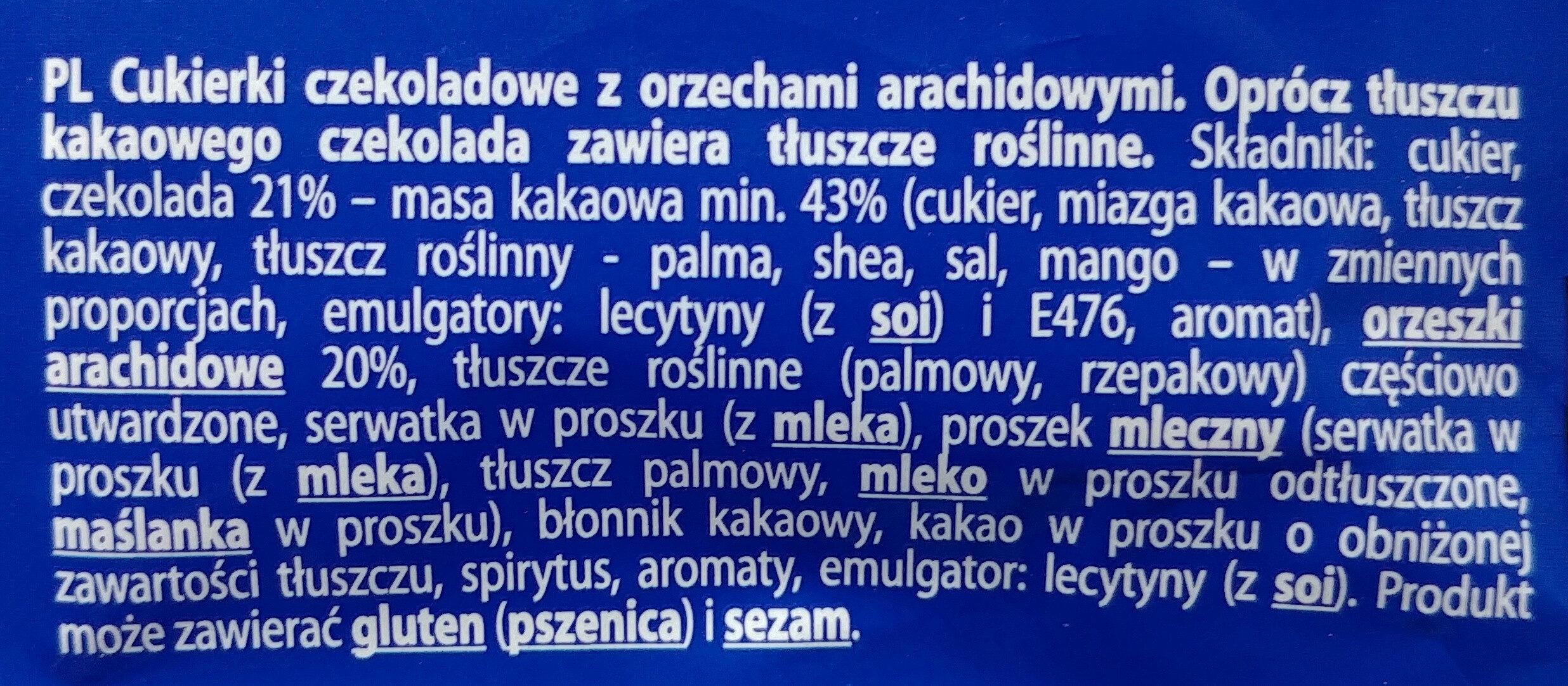 Cukierki czekoladowe z orzechami arachidowymi - Składniki - pl