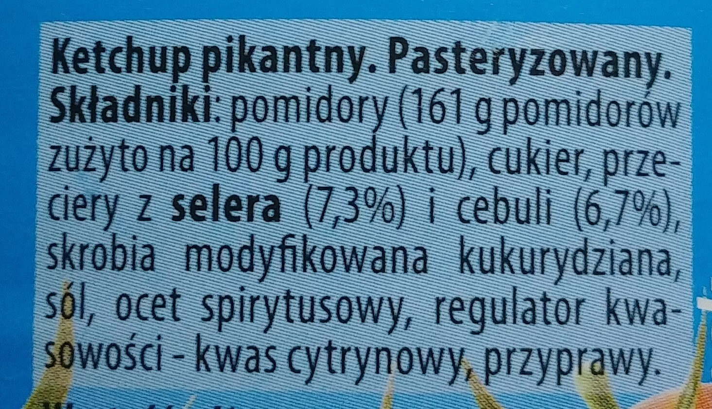 Ketchup pikantny - Ingredients - pl
