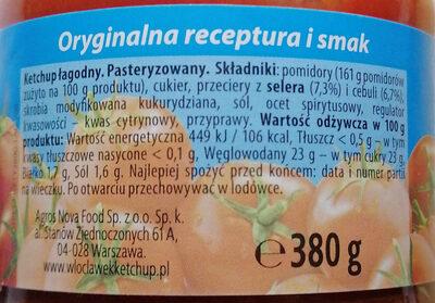 Ketchup łagodny - Ingredients - pl