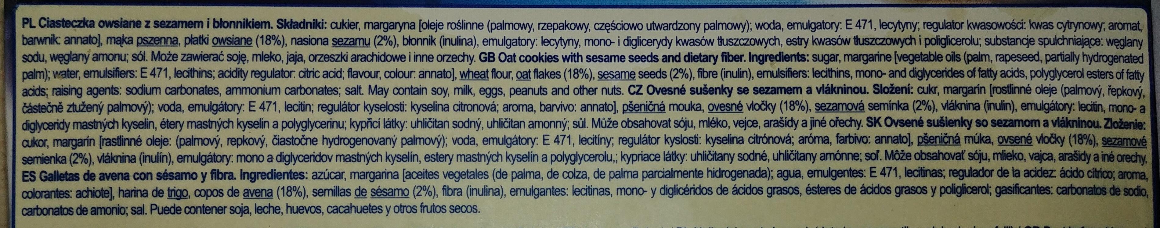 Ciasteczka owsiane z sezamem - Ingrediënten - pl