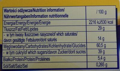 Ciasteczka owsiane polane czekoladą mleczną - Voedingswaarden - pl