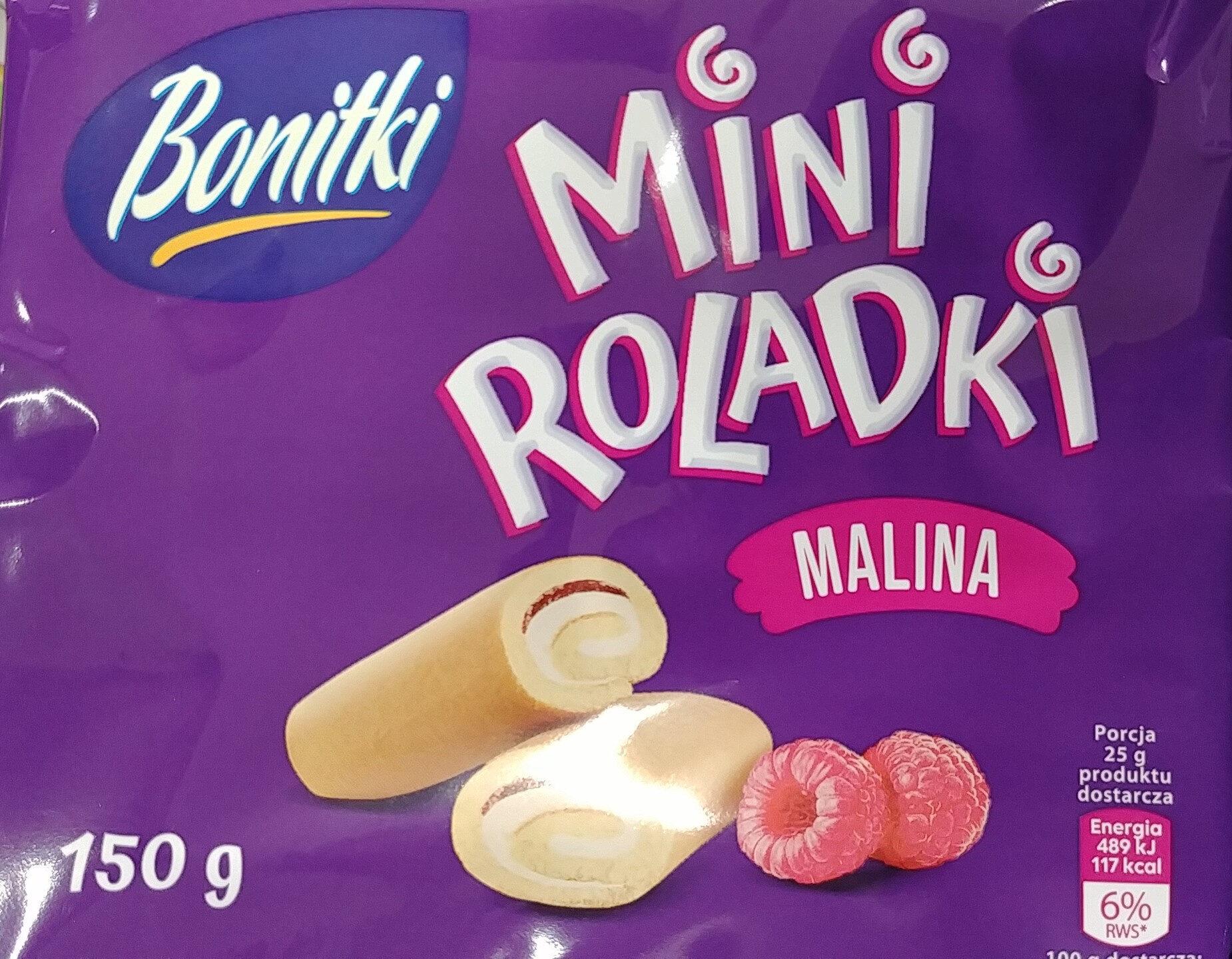 Mini roladki biszkoptowe z nadzieniem o smaku malinowym (20%) i kremem o smaku waniliowym (36%). - Produkt - pl