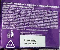 Mini roladki biszkoptowe z nadzieniem o smaku malinowym (20%) i kremem o smaku waniliowym (36%). - Składniki - pl