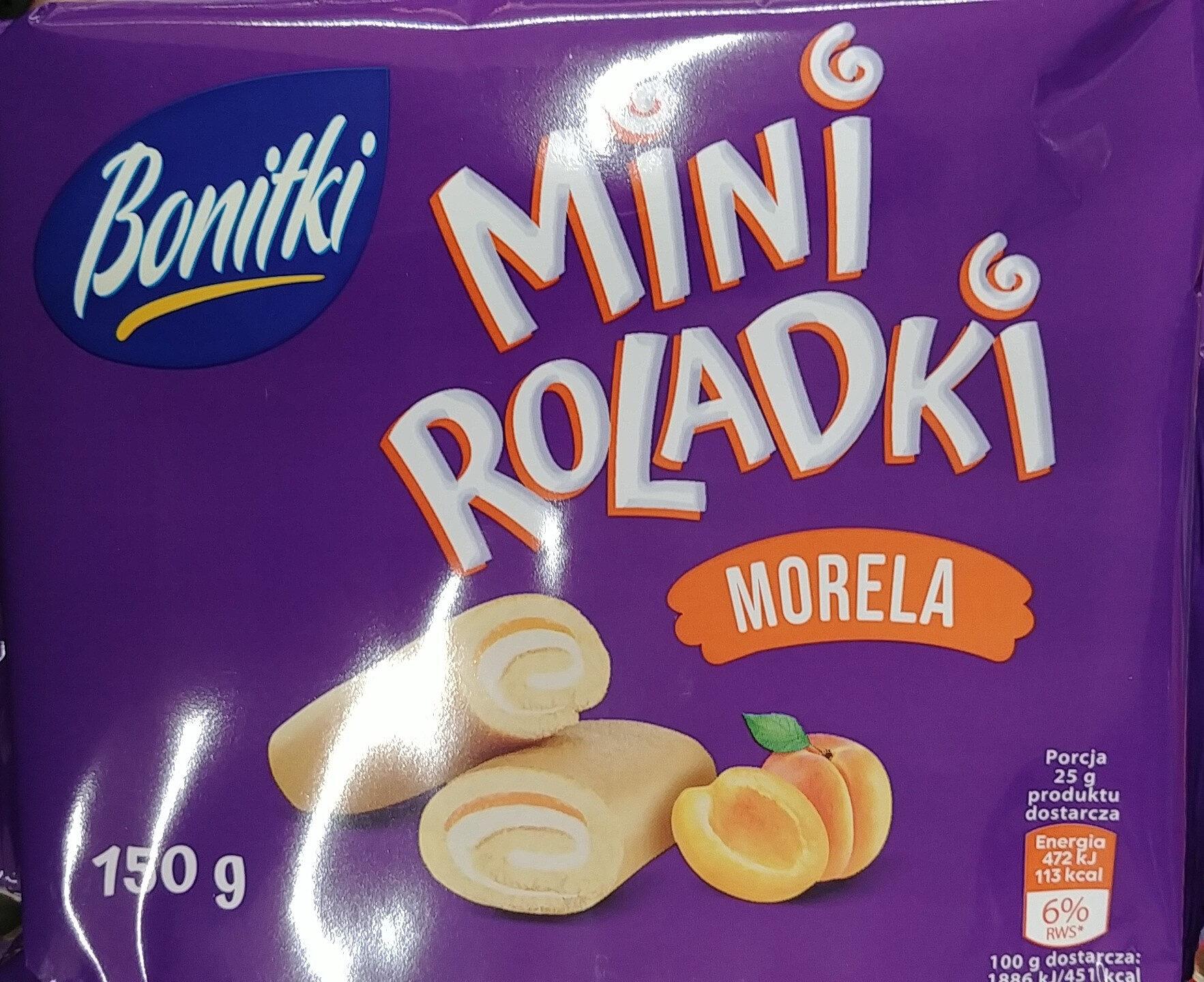 Mini roladki biszkoptowe z nadzieniem o smaku morelowym (20%) i kremem o smaku waniliowym (36%). - Produit - pl