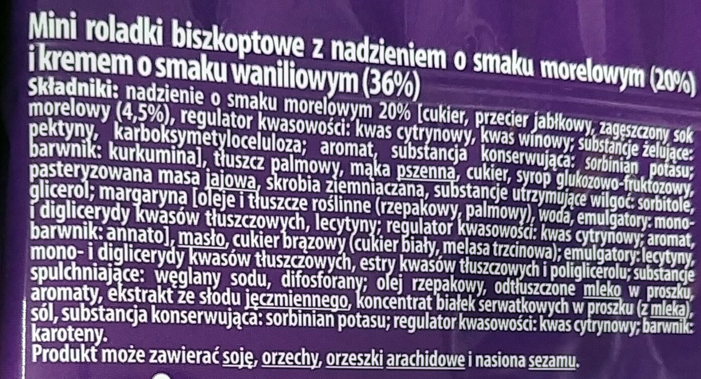 Mini roladki biszkoptowe z nadzieniem o smaku morelowym (20%) i kremem o smaku waniliowym (36%). - Ingrédients - pl