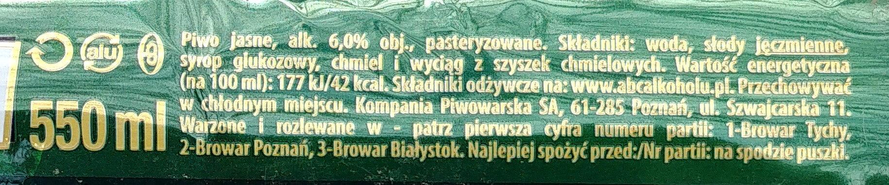 Piwo ŻUBR - Składniki - pl