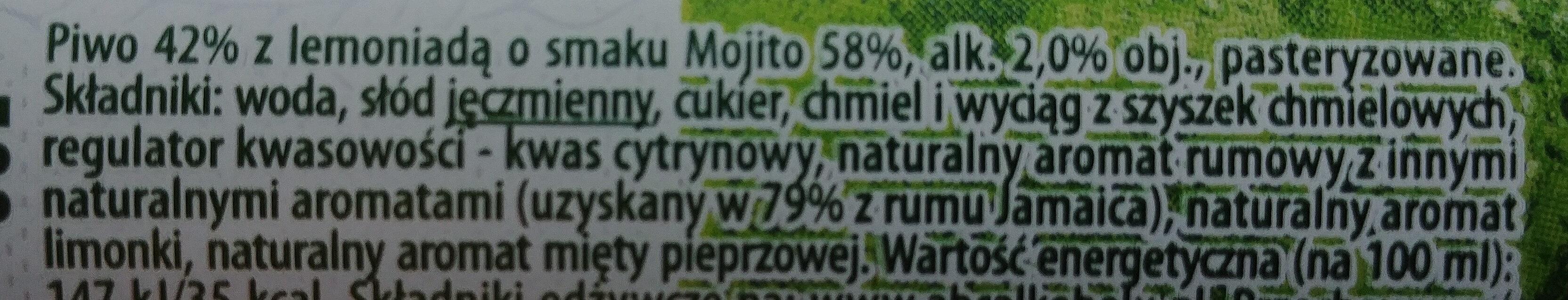 Piwo z lemoniadą o smaku Mojito - Składniki