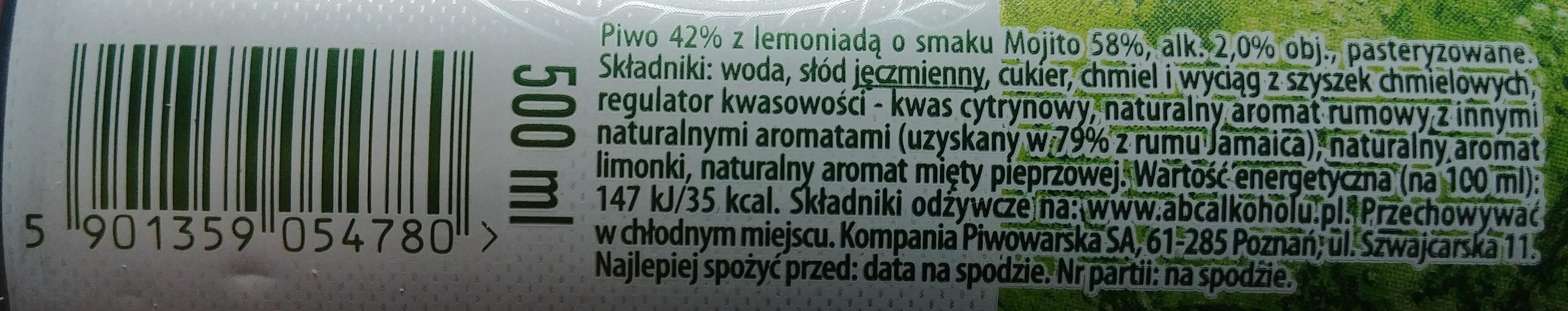 Piwo z lemoniadą o smaku Mojito - Wartości odżywcze