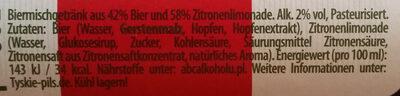 Tyskie Radler - Nutrition facts