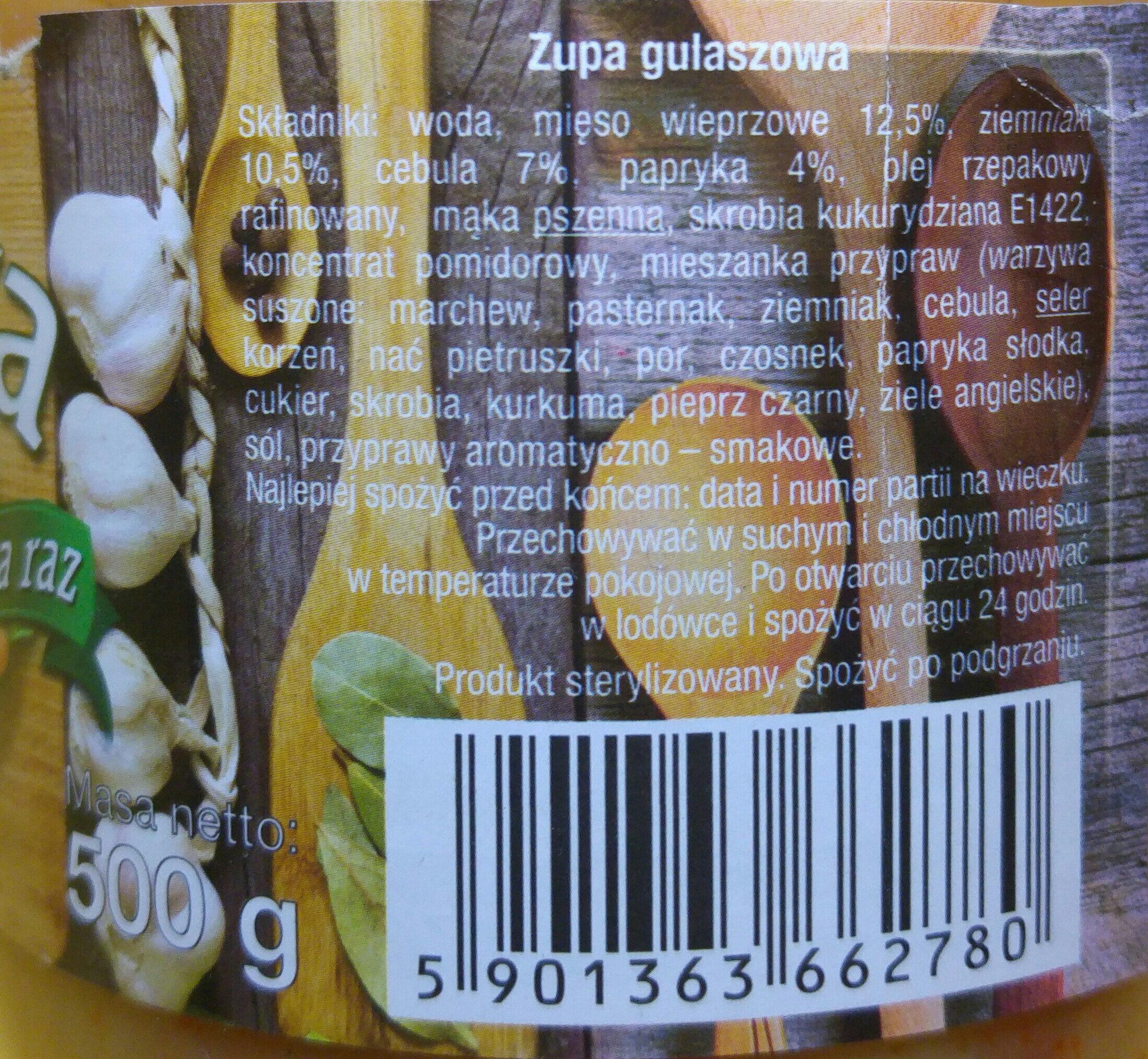 Zupa gulaszowa. - Ingredients - pl