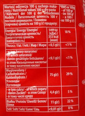 Makaron Nadarzyński rurka - Wartości odżywcze