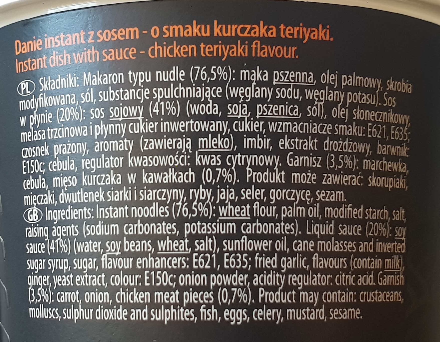 Japoński kurczak Teriyaki - Składniki - pl