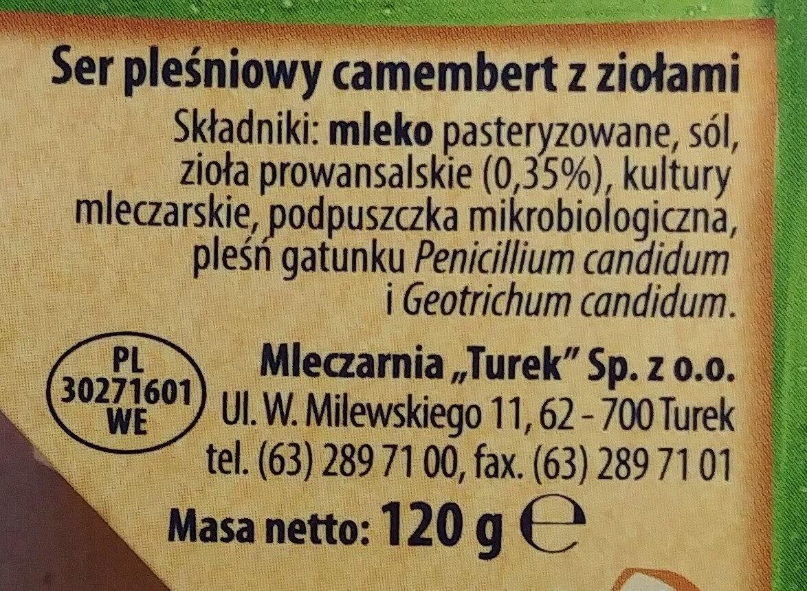 Ser pleśniowy camembert z ziołami - Składniki - pl