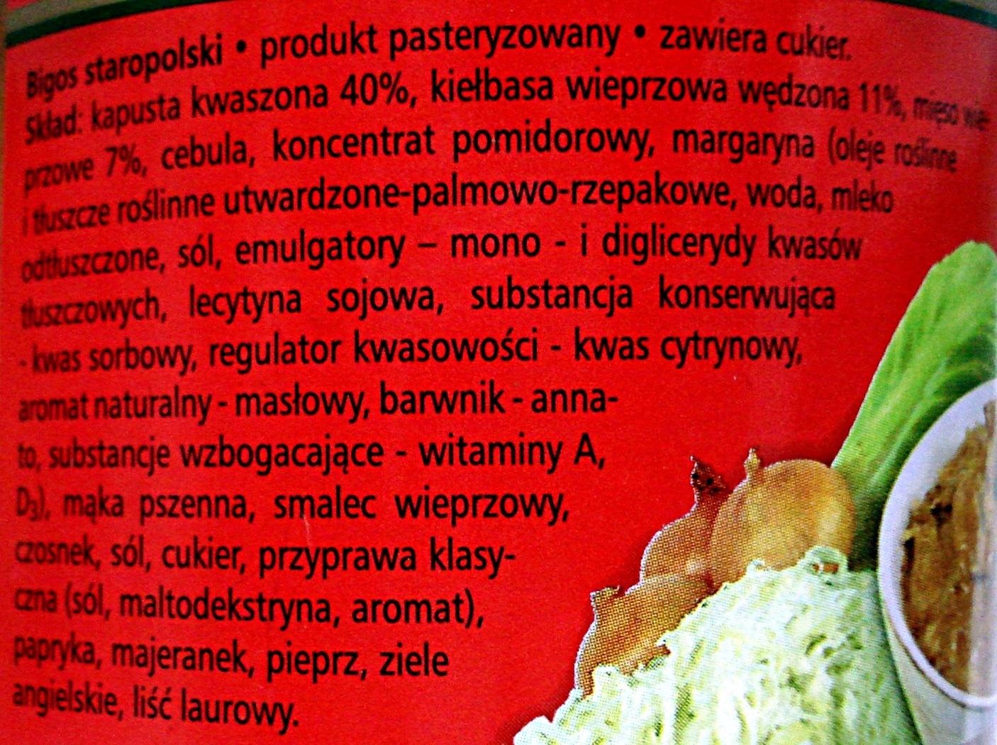 Bigos Staropolski - Ingredients - pl