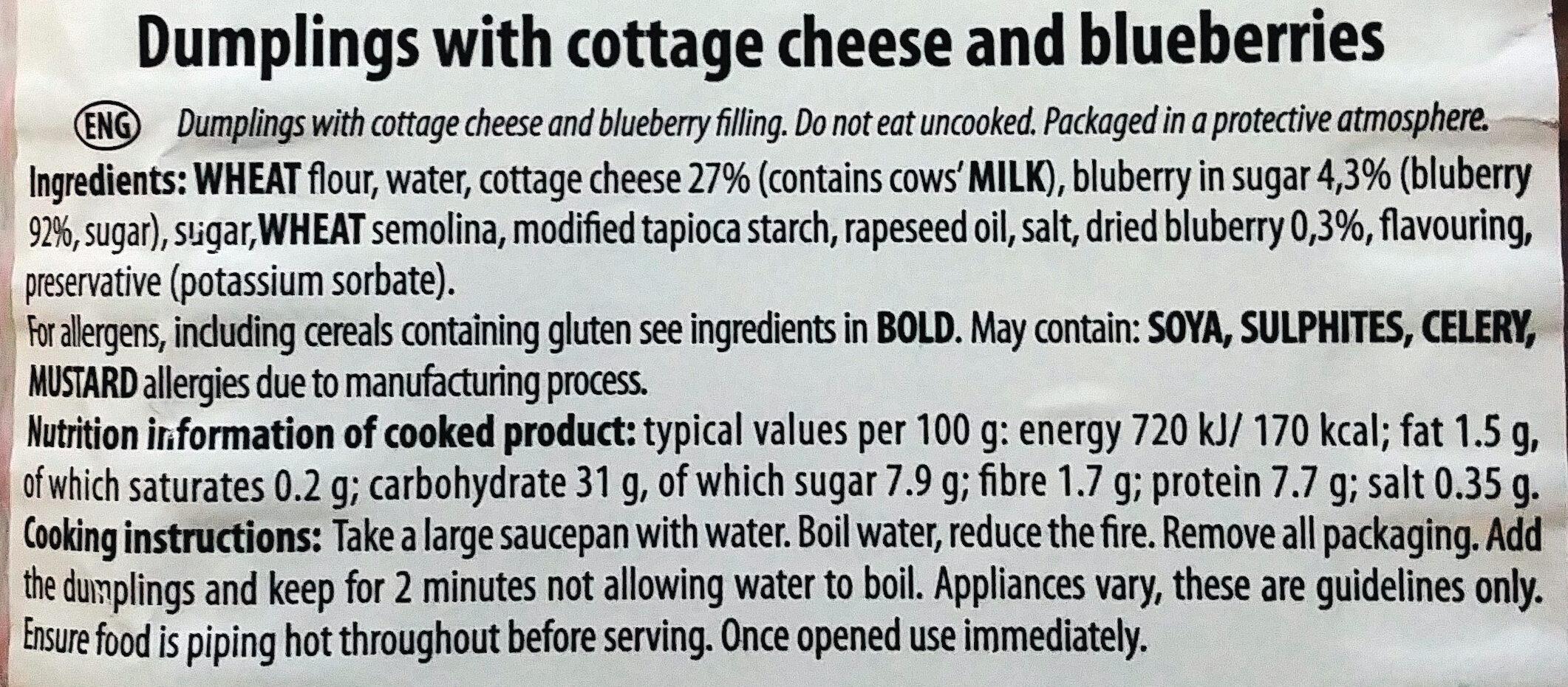Pierogi z twarogiem i jagodami - Ingredients - en