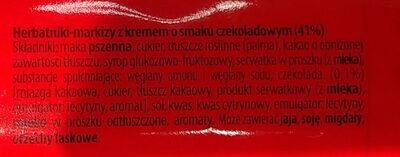 Herbatniki-markizy z kremem o smaku czekoladowym (41%) - Ingrédients - pl