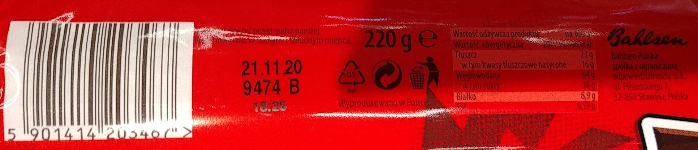 Herbatniki-Markizy z kremem o smaku czekoladowym (41%). - Wartości odżywcze - pl